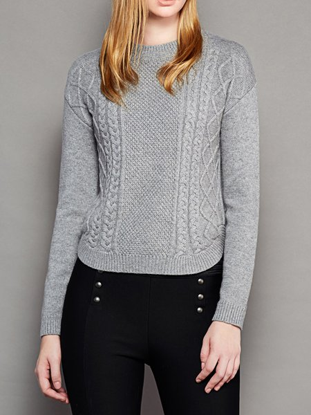Gray Jacquard Plain Crew Neck Long Sleeve Sweater