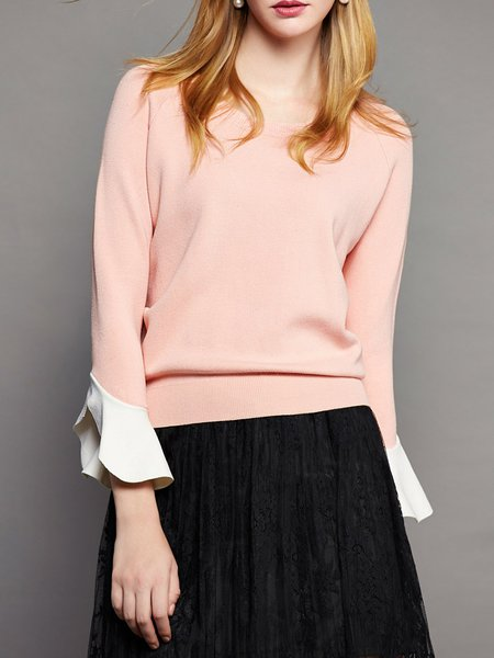 Pink Knitted Plain Frill Sleeve Crew Neck Sweater