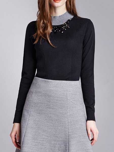 Black Elegant Color-block Knitted Sweater With Necklace