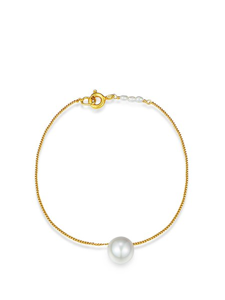 Golden Round 925 Sterling Silver Pearl Bracelet
