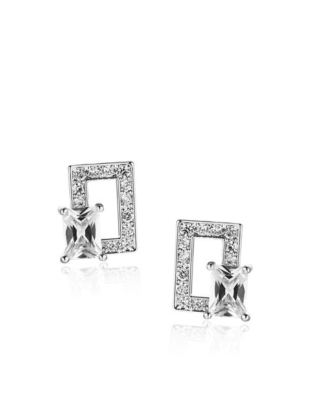 Square Synthetic Materials Zircon Earrings