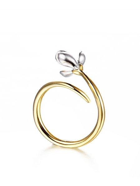 Golden Flower Adjustable 925 Sterling Silver Alice Orchid Ring