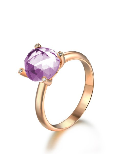 Rose Gold Round Amethyst Ring