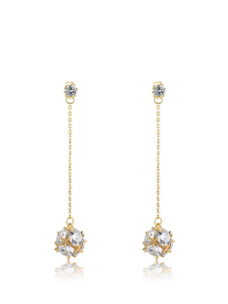 Round Zircon Synthetic Materials Earrings