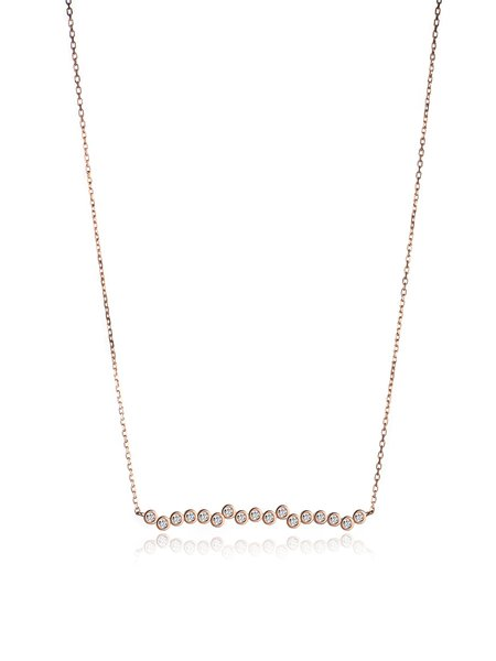 Rose Gold Round 925 Sterling Silver Zircon Necklace