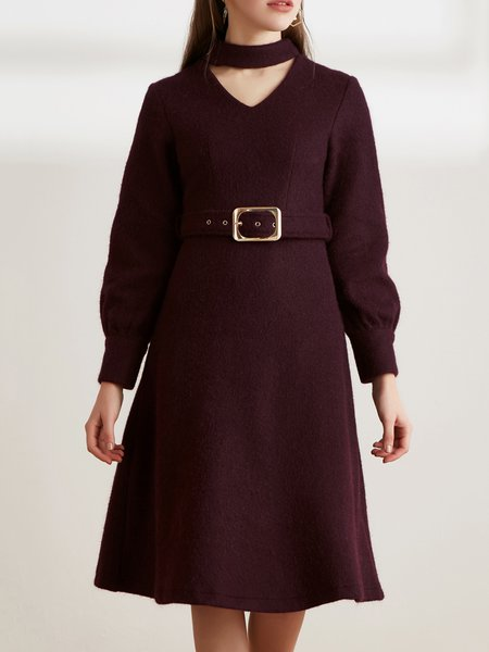 Burgundy A-line Mohair Casual V Neck Midi Dress with Belt