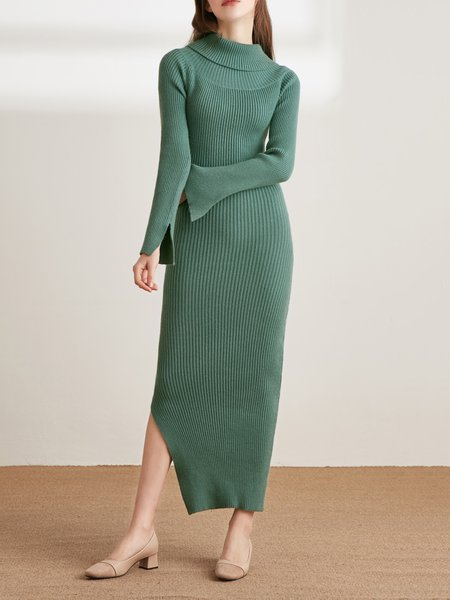 Green Off Shoulder Solid Casual Sweater Dress