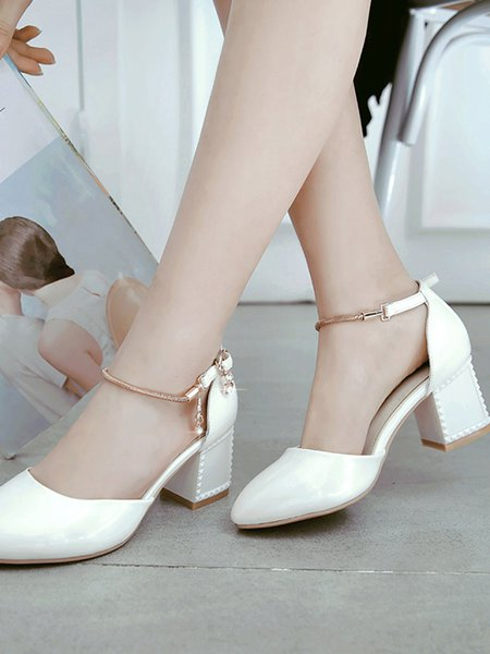 White Chunky Heel Summer PU Chain Dress Heel - StyleWe.com