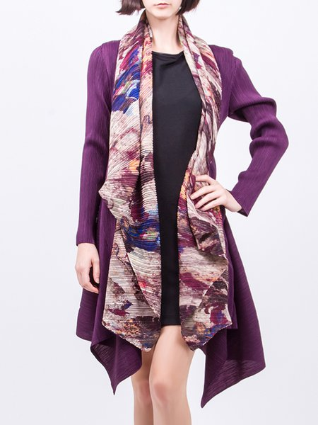 Purple Pleated Long Cardigan with Scarf Attached