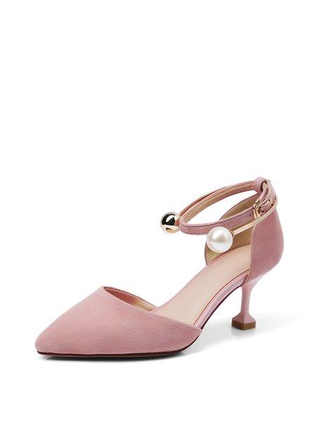 Pink Summer Stiletto Heel Suede Imitation Pearl Heels