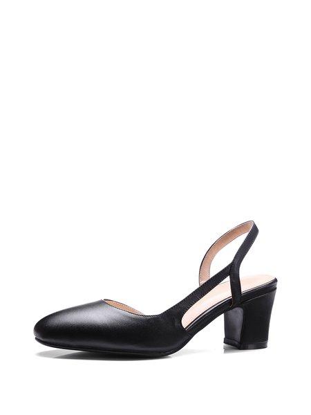 Black Summer Office & Career Leather Sandals
