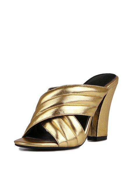 Golden Summer Chunky Heel Leather Slippers