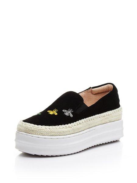 Black Suede Platform Casual Sneakers