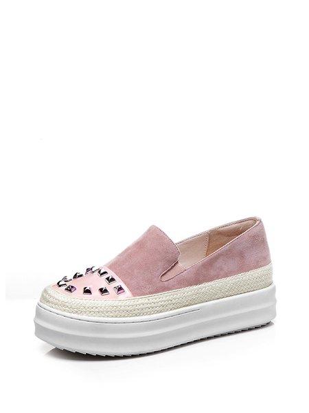 Pink Summer Rivet Platform Casual Suede Sneakers