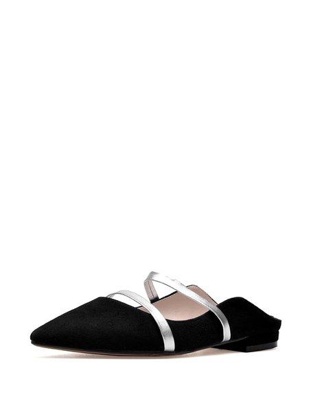 Black Spring/Fall Split Joint Flat Heel Slippers