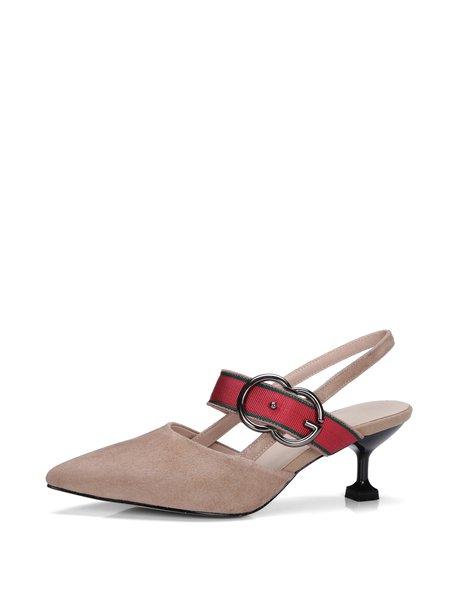 Apricot Buckle Stiletto Heel Summer Leather Sandals