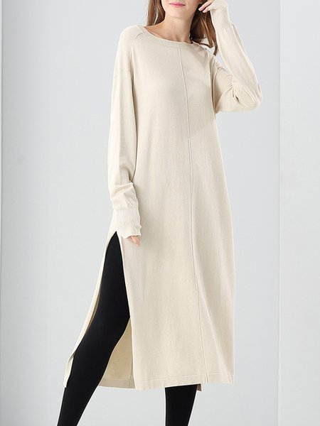 Casual Slit Knitted Midi Cotton-blend Dress