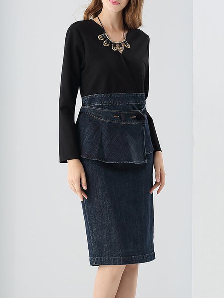 Black Long Sleeve Denim Paneled Midi Dress