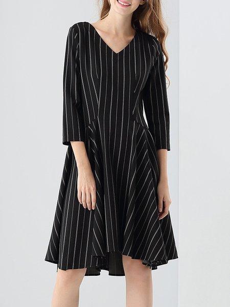 Black Gathered Stripes 3/4 Sleeve Midi Dress