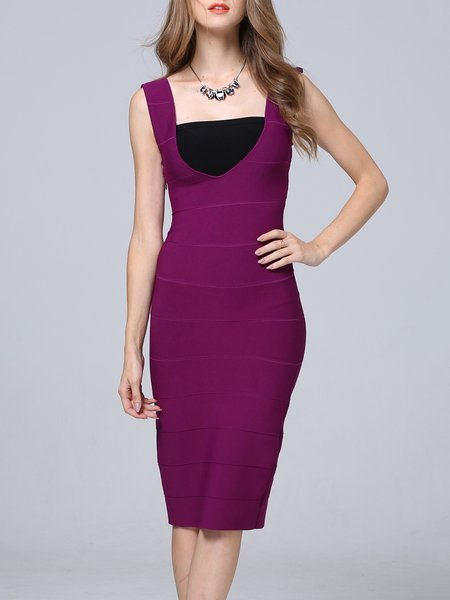 Burgundy Sleeveless Plain Bodycon Midi Dress
