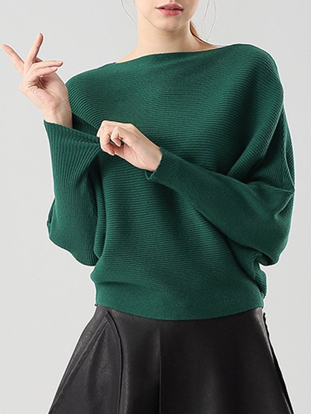 Slash Neck Knitted Plain Casual Sweater