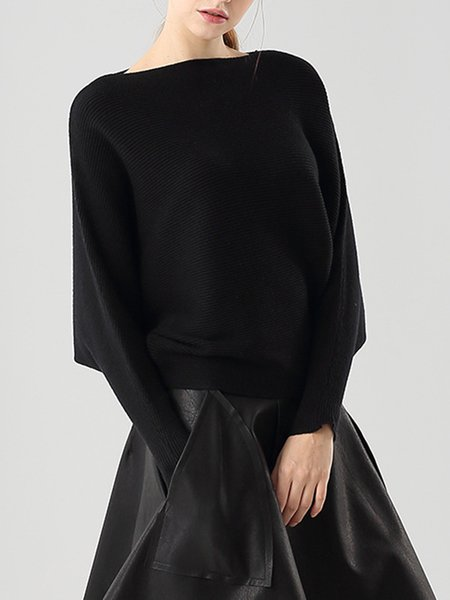 Slash Neck Casual Batwing Sweater