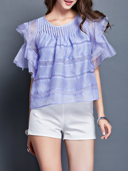 Blue Ruffled Frill Sleeve Blouse