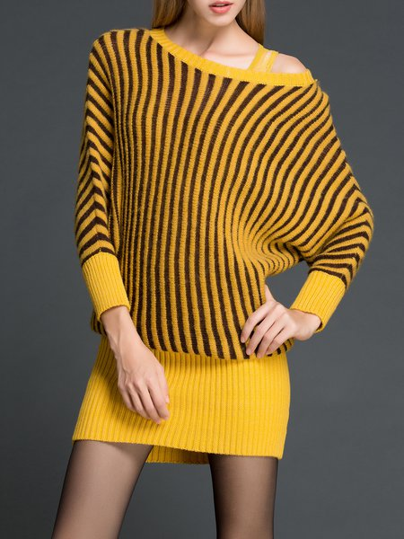 Casual Long Sleeve Bateau/boat Neck Sweater Dress