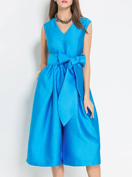 Blue V Neck Sleeveless Bow Jumpsuit