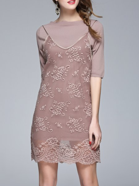 Guipure Lace Casual Two Piece Mini Dress