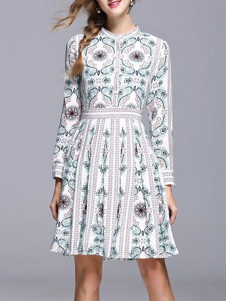 Stand Collar Light green Midi Dress A-line Long Sleeve Printed Dress