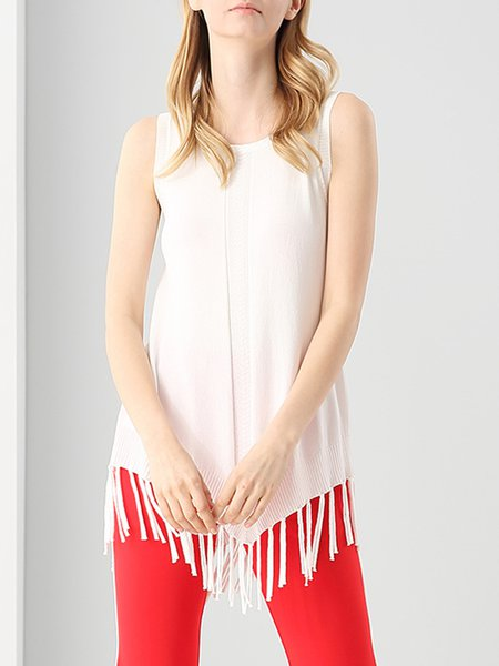 White Fringed Solid Casual H-line Tanks And Cami