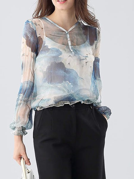 Casual V Neck Silk Printed Long Sleeve Blouse