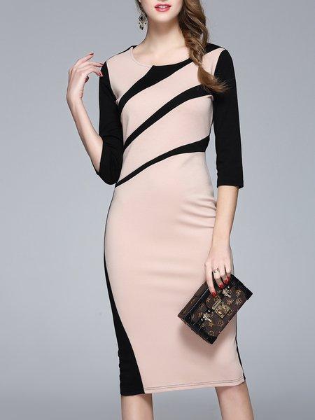 Crew Neck Cotton Half Sleeve Elegant Midi Dress