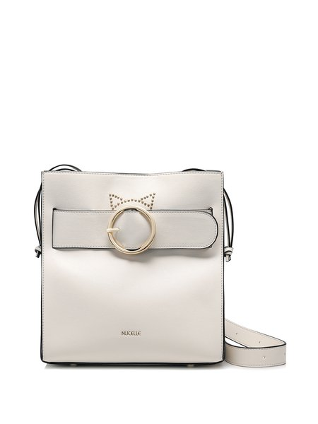 Beige Drawstring PU Shoulder Bag