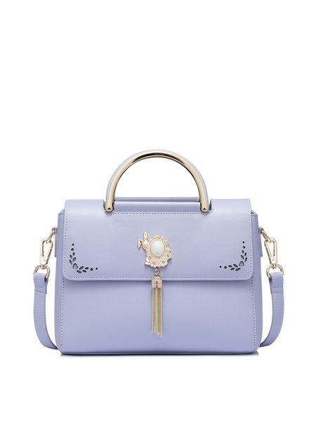 Purple Fold-over Flat Top Sweet PU Shoulder Bag
