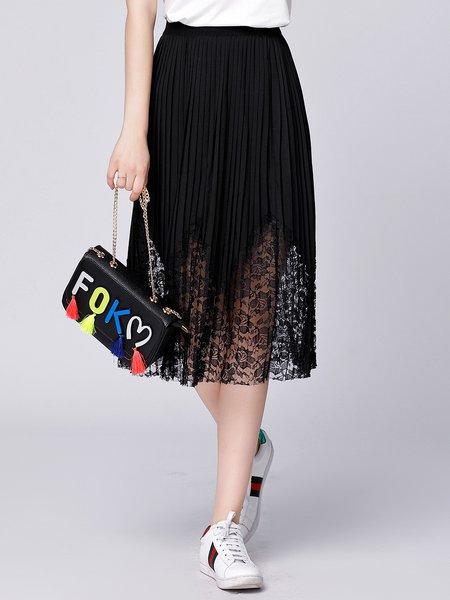 Black Casual H-line Pleated Midi Skirt