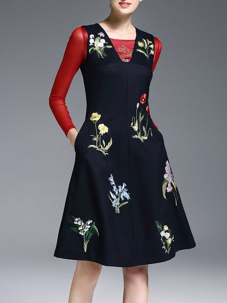 Dark Blue Embroidered Casual A-line Midi Dress