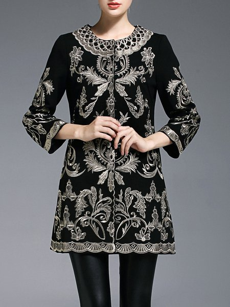 Embroidered Crew Neck A-line Vintage Coat
