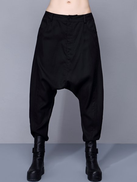 Black Statement Pockets Plain Track Pants
