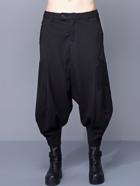 Black Statement Pockets Paneled Track Pants