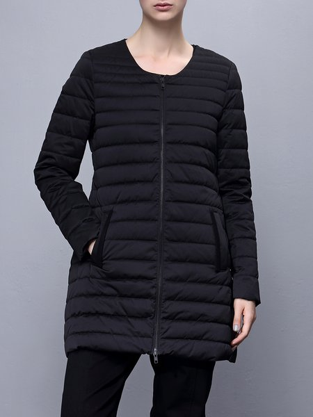 Black Polyester Long Sleeve Plain Down Coat