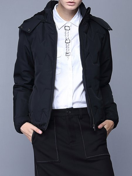 Black Casual Hoodie Pockets H-line Coat