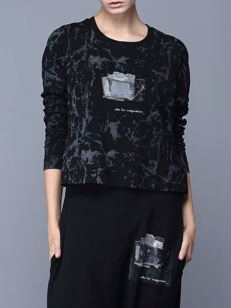 Black H-line Casual Printed Long Sleeved Top