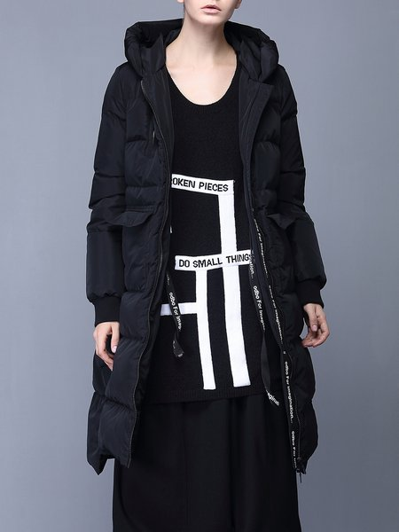 Black Hoodie Polyester Long Sleeve Down Coat