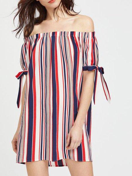 Stripes Shorts Sleeve Boho Off Shoulder H-line Holiday Dress