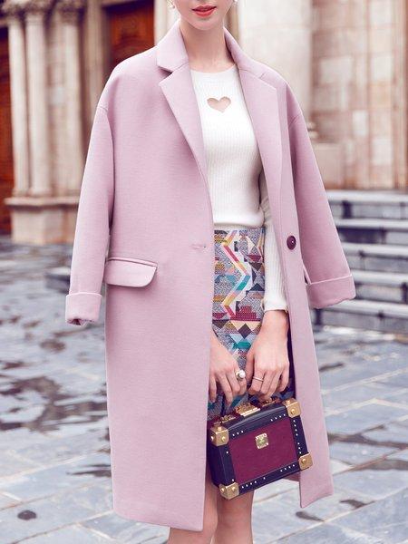 Pink Simple H-line Plain Coat