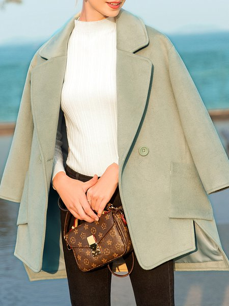 Green Plain Asymmetric Simple Long Sleeve Lapel Coat