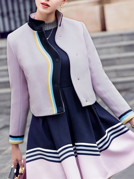 Color-block Long Sleeve Casual H-line Cropped Jacket