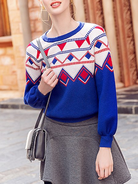 Blue Jacquard Knitted Casual Sweater